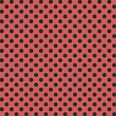 Polka Dots Black On Indian Red Fabric by FashionLane