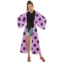 Polka Dots Black On Lavender Purple Maxi Kimono by FashionLane
