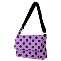 Polka Dots Black On Lavender Purple Full Print Messenger Bag (m) by FashionLane