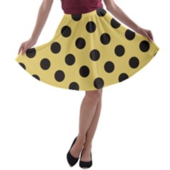 Polka Dots Black On Mellow Yellow A Line Skater Skirt