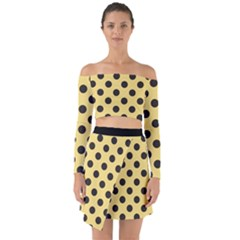 Polka Dots Black On Mellow Yellow Off Shoulder Top With Skirt Set