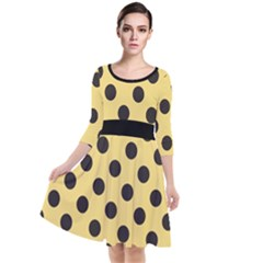 Polka Dots Black On Mellow Yellow Quarter Sleeve Waist Band Dress by FashionLane