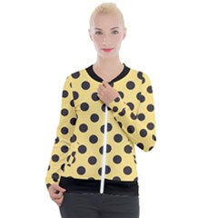 Polka Dots Black On Mellow Yellow Casual Zip Up Jacket by FashionBoulevard