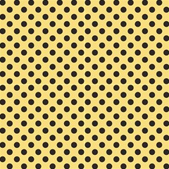 Polka Dots Black On Mellow Yellow Fabric by FashionLane