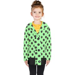 Polka Dots Black On Mint Green Kids  Double Breasted Button Coat by FashionLane