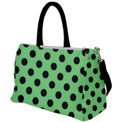 Polka Dots Black On Mint Green Duffel Travel Bag by FashionLane