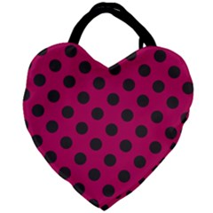 Polka Dots Black On Peacock Pink Giant Heart Shaped Tote