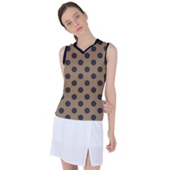 Polka Dots Black On Tortilla Brown Women s Sleeveless Sports Top