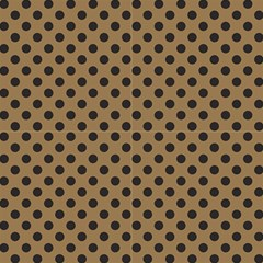 Polka Dots Black On Tortilla Brown Fabric by FashionLane