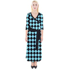 Block Fiesta Black And Arctic Blue Quarter Sleeve Wrap Maxi Dress