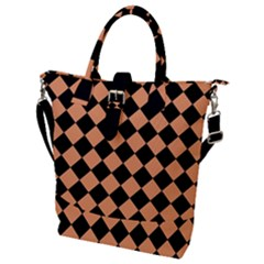 Block Fiesta Black And Cantaloupe Orange Buckle Top Tote Bag by FashionLane