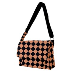 Block Fiesta Black And Cantaloupe Orange Full Print Messenger Bag (m)
