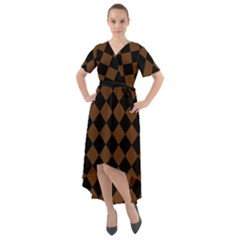 Block Fiesta Black And Caramel Brown Front Wrap High Low Dress