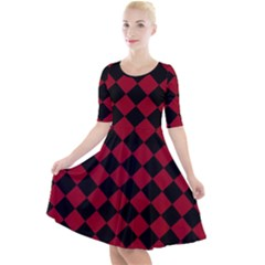 Block Fiesta Black And Carmine Red  Quarter Sleeve A-line Dress by FashionLane