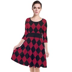 Block Fiesta Black And Carmine Red  Quarter Sleeve Waist Band Dress by FashionLane