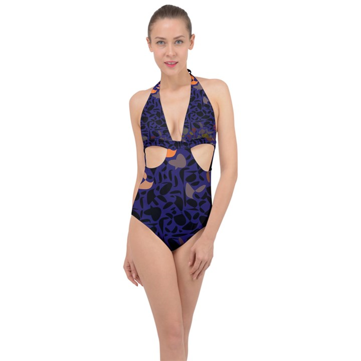 Zappwaits Halter Front Plunge Swimsuit