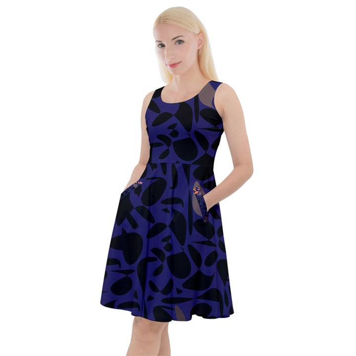 Zappwaits Knee Length Skater Dress With Pockets
