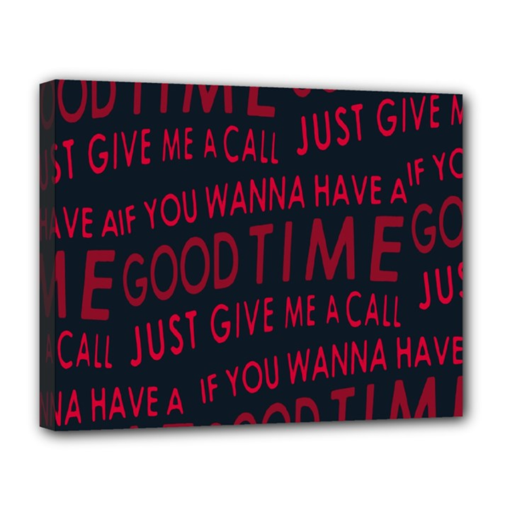 Motivational Phrase Motif Typographic Collage Pattern Canvas 14  x 11  (Stretched)