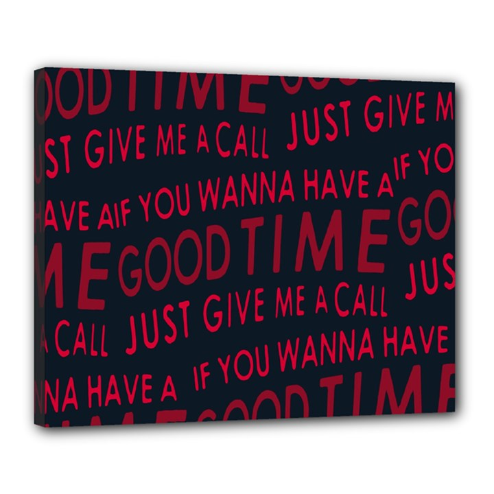 Motivational Phrase Motif Typographic Collage Pattern Canvas 20  x 16  (Stretched)