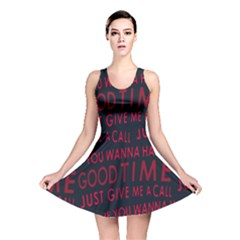 Motivational Phrase Motif Typographic Collage Pattern Reversible Skater Dress