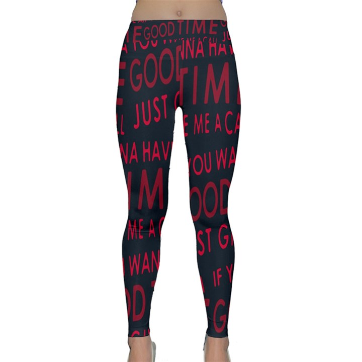 Motivational Phrase Motif Typographic Collage Pattern Classic Yoga Leggings