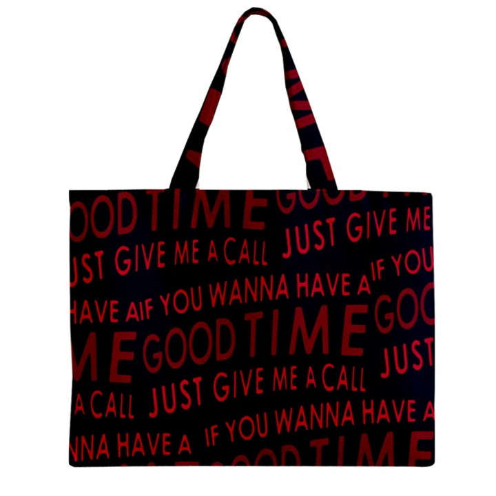 Motivational Phrase Motif Typographic Collage Pattern Zipper Mini Tote Bag
