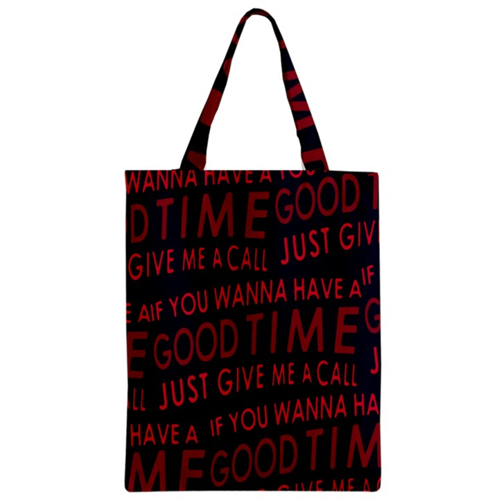 Motivational Phrase Motif Typographic Collage Pattern Zipper Classic Tote Bag