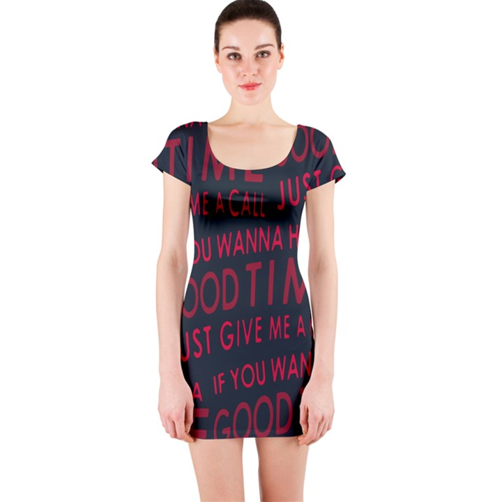 Motivational Phrase Motif Typographic Collage Pattern Short Sleeve Bodycon Dress