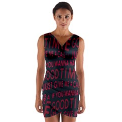 Motivational Phrase Motif Typographic Collage Pattern Wrap Front Bodycon Dress
