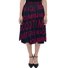 Motivational Phrase Motif Typographic Collage Pattern Classic Midi Skirt