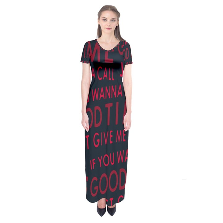 Motivational Phrase Motif Typographic Collage Pattern Short Sleeve Maxi Dress