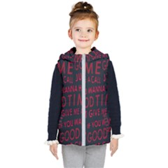 Motivational Phrase Motif Typographic Collage Pattern Kids  Hooded Puffer Vest