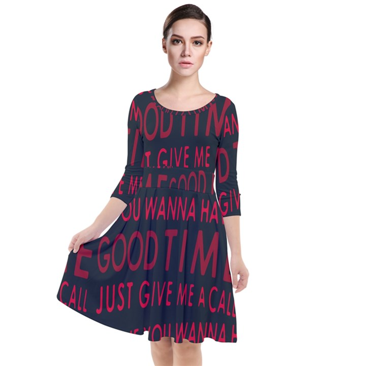 Motivational Phrase Motif Typographic Collage Pattern Quarter Sleeve Waist Band Dress