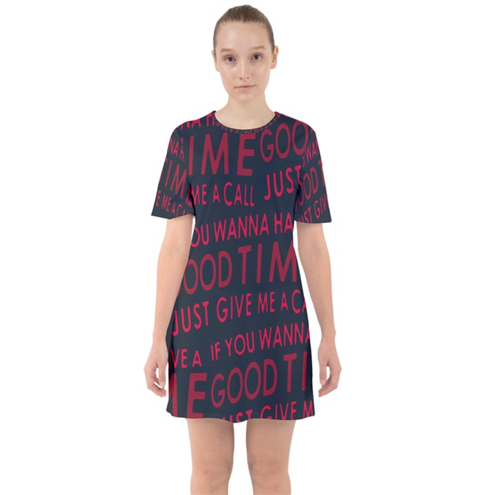 Motivational Phrase Motif Typographic Collage Pattern Sixties Short Sleeve Mini Dress