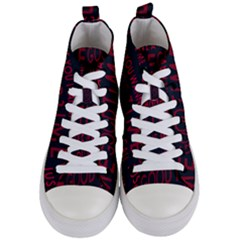 Motivational Phrase Motif Typographic Collage Pattern Women s Mid-top Canvas Sneakers