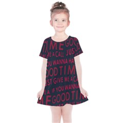 Motivational Phrase Motif Typographic Collage Pattern Kids  Simple Cotton Dress