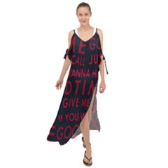 Motivational Phrase Motif Typographic Collage Pattern Maxi Chiffon Cover Up Dress