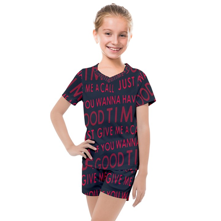 Motivational Phrase Motif Typographic Collage Pattern Kids  Mesh Tee and Shorts Set