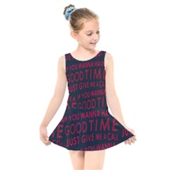 Motivational Phrase Motif Typographic Collage Pattern Kids  Skater Dress Swimsuit