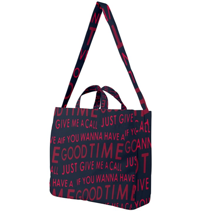 Motivational Phrase Motif Typographic Collage Pattern Square Shoulder Tote Bag
