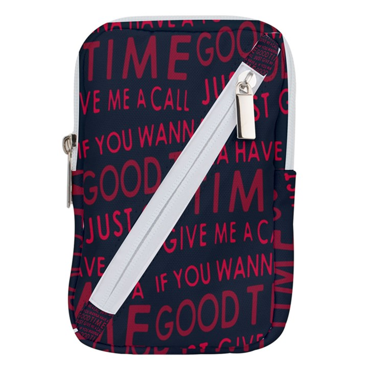Motivational Phrase Motif Typographic Collage Pattern Belt Pouch Bag (Small)