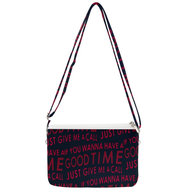 Motivational Phrase Motif Typographic Collage Pattern Double Gusset Crossbody Bag