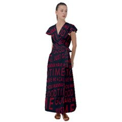 Motivational Phrase Motif Typographic Collage Pattern Flutter Sleeve Maxi Dress