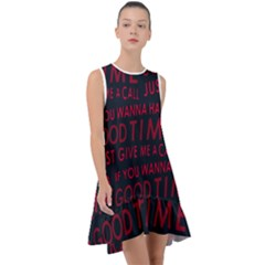 Motivational Phrase Motif Typographic Collage Pattern Frill Swing Dress