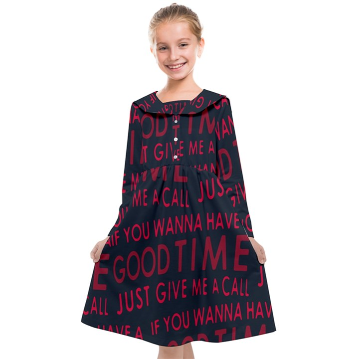 Motivational Phrase Motif Typographic Collage Pattern Kids  Midi Sailor Dress