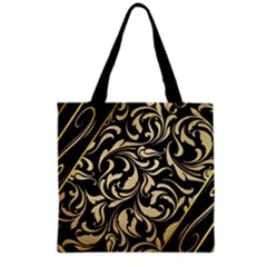 Black Adn Gold Leaves Grocery Tote Bag