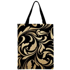 Black Adn Gold Leaves Zipper Classic Tote Bag