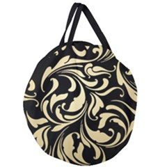Black Adn Gold Leaves Giant Round Zipper Tote