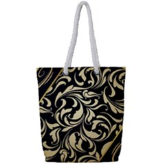 Black Adn Gold Leaves Full Print Rope Handle Tote (small)