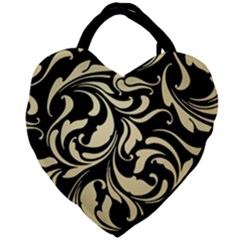 Black Adn Gold Leaves Giant Heart Shaped Tote